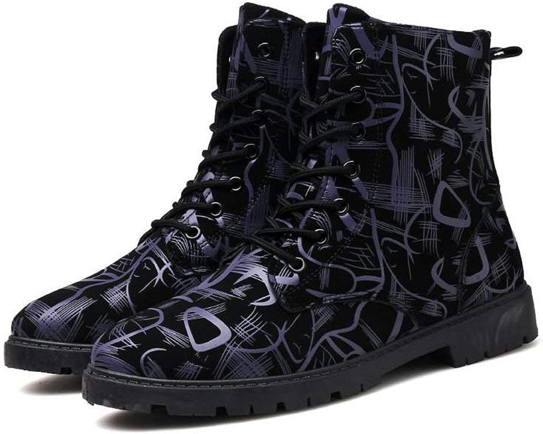 Herren Stiefeletten Chunky Heel Lace up britischen Stil Mode Freizeit Schuhe (Farbe   Dunkelblau, Größe   39 EU) (Farbe   Dunkelblau, Größe   43 EU)  | Modern Und Elegant In Der Mode