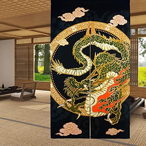 LIGICKY Cortina Japonesa noren Estilo japonés para Puerta de Puerta con diseño de dragón Chino Tradicional Volando en la Nube, Cortina divisora de habitación para Cocina Sushi, 85 x 150 cm