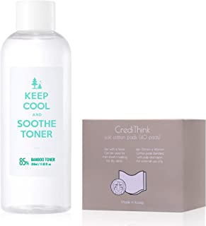 KEEP COOL Soothe Bamboo Face Toner 11.83 fl. oz. with Cotton Pads - Instant Soothing & Ultra Hydrating Moisturizer with Hy...