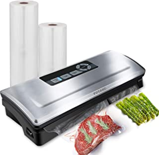 Potane Vacuum Sealer Machine, 85kPa Pro Vacuum Food Sealer, 8-in-1 Easy Presets, 4 Food Modes, Dry&Moist&Soft&Delicate with Starter Kit, Compact Design(Silver)…