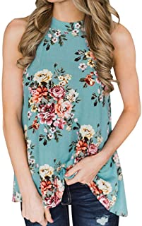 Fitfulvan Women's Hanging Neck Flower Print Tank Top Casual National Style Vest Fashion Summer Sleeveless Blouse