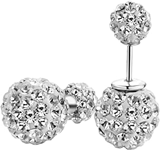 Double Sided Front and Back Ball Stud Earrings 925 Sterling Silver Crystal Rhinestones Earrings for Women Girls 10mm