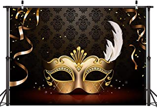Dudaacvt 7x5FT Mardi Gras Mask Backdrop Carnival Photography Backdrop Masquerade Photography Backdrops Golden Mask Photo Background 149