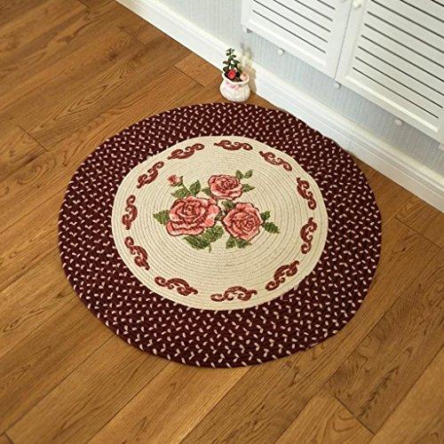#Woonkamer tapijt Ronde tapijt, Rose Ronde Aarde Matten Handgeweven Groen Tapijt Mand Hangstoel Ottomanen deken