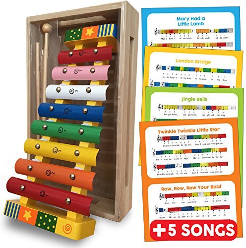 Bee Smart UK Xylophone Glockenspiel Musical Instrument - Wooden Toys Percussion Musical Instrument Gift for Toddlers with FREE SONG SHEETS, WOODEN STORAGE BOX and TWO WOODEN MALLETS - Baby Musical Instruments Educational Percussion Sound Toy Gift