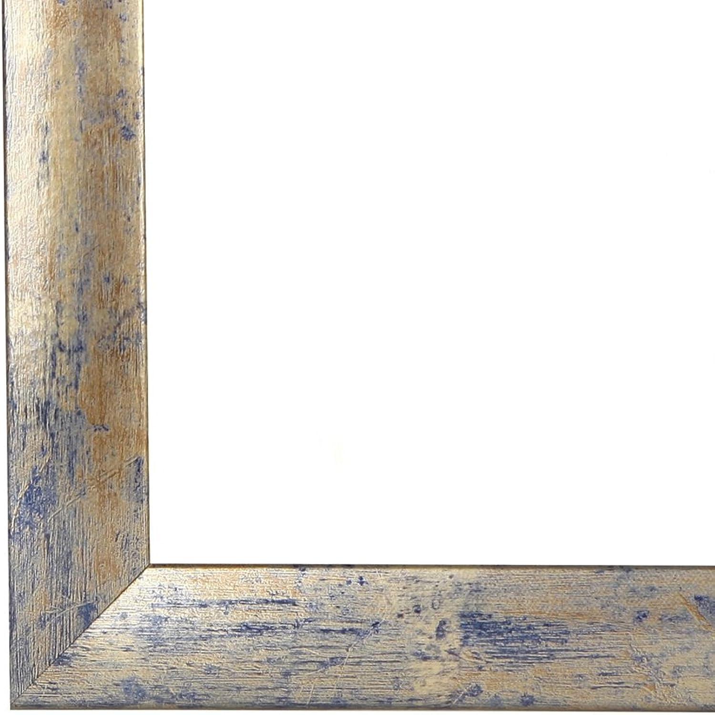Olimp Bilderrahmen 55x155 oder 155x55 cm in BLAU Silber BLAU normal Kunstglas und Rückwand, 35 mm breite MDF-Leiste mit Dekor Folienummantelung