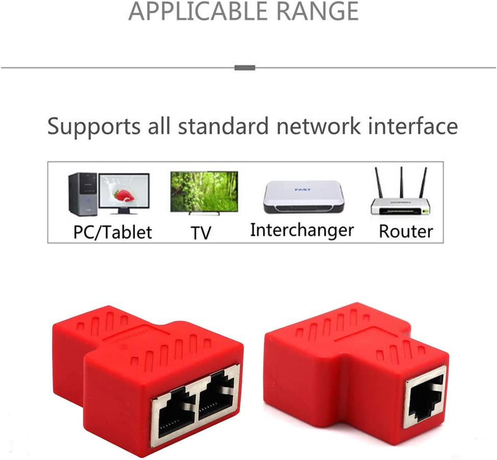 HiSKY 2pcs 1 to 2 Dual Female Ports CAT5//6//7 RJ45 Splitter LAN Network Internet Adapter Blue