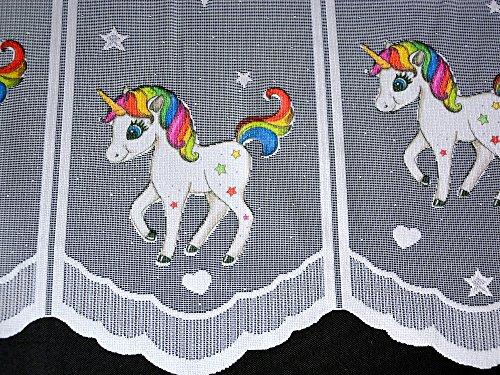Albani Scheibengardine Einhorn Höhe 50cm | Breite der Gardine frei wählbar in 16cm Schritten | Kinderzimmer Gardine | Panneaux Unicorn Multicolor