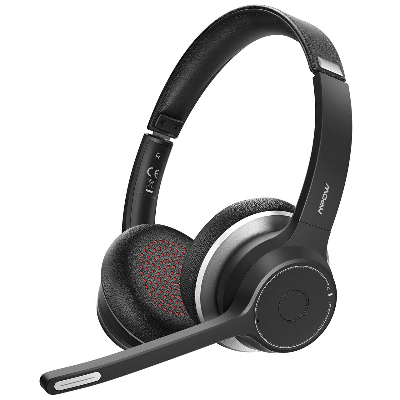 Amazon Com Mpow Hc5 Bluetooth Headset V5 0 Wireless Headphones With Dual Microphone Cvc8 0 Noise Canceling 22 Hrs Talk Time Soft Ear Pad Wireless Business Office Headset For Calling Music Wired Optional Electronics