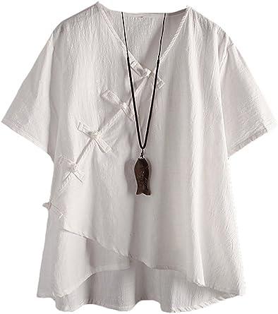MatchLife - Camisa de Lino para Mujer, clásica, Vintage ...