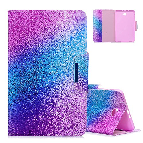 Aeeque Galaxy Tab A6 10.1 Blue Purple Glitter Pattern and Premium PU Leather Flip Magnetic Wallet Cover Tablet Stand Protective Case for Samsung Galaxy Tab A 10.1' (2016) SM-T580/T585