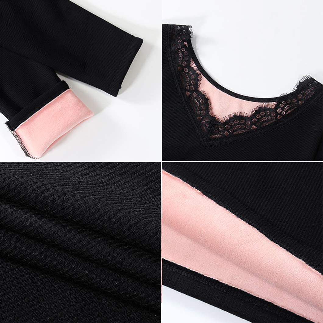 Duyang Women's Winter Thermal Fleece Lined Underwear Long Sleeve Baselayer Tops