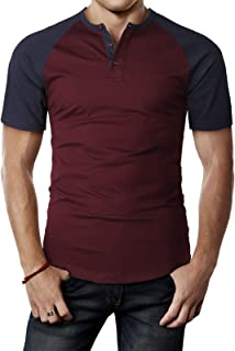 H2H Men's Casual Slim Fit Henley T-Shirt Short Raglan Sleeve T-Shirt