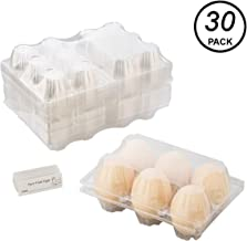 Toplife Clear Plastic Eco-Friendly Egg Carton with Sticker Labels, Holds 6 Eggs Securely, Set of 30
