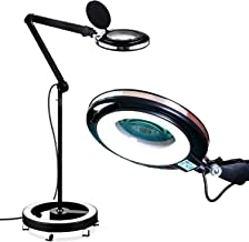 Brightech LightView Pro LED Magnifying Glass Floor Lamp - 6 Wheel Rolling Base Reading Magnifier Light with Gooseneck - for Professional Tasks and Crafts - Black