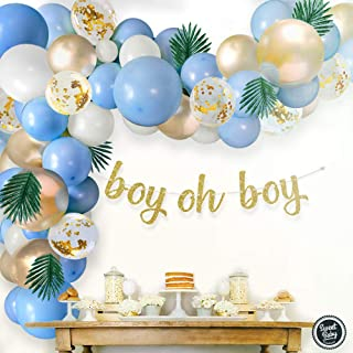 Sweet Baby Co. Boy Baby Shower Blue Balloon Garland Arch Kit for Boy with Greenery Leaves Decorations, Oh Boy Banner, Conf...