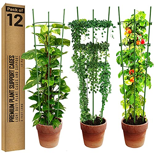 K-Brands 12 Pack 36 Inch Tomato Plant Support Cages with Adjustable Rings - Sturdy Plant Trellis Provides Support for Tomatoes, Flowers and Other Vertical Climbing Plants
