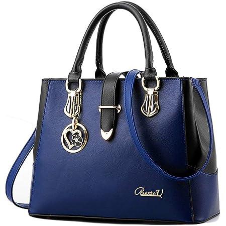 Damen Handtaschen Schwarz groß taschen Leder moderne damen handtasche gross schultertasche Frauen Umhängetasche (Blau)