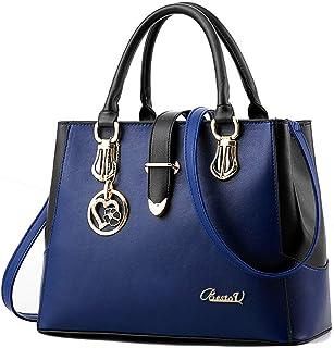 BestoU Damen Handtaschen Schwarz groß taschen Leder moderne damen handtasche gross schultertasche Frauen Umhängetasche Blau