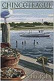 Romance-and-Beauty Chincoteague, Virginia - Cangrejo Azul y ostras en el Muelle (Rompecabezas para Adultos) 500 Piezas