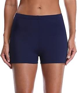 ATTRACO Women's Solid Color Tankini Boyleg Swim Bottom Board Swim Shorts