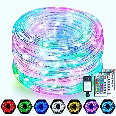 Mlambert 2 Pack 52FT LED Rope Lights 160 LEDs, 16 Colors Outdoor Rope Lights, Waterproof IP68 Multi Color Rope Tube Fairy Lights with Remote, RGB LED String Lights for Wedding Christmas Party
