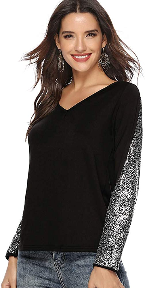 Same day shipping Misaky Women's Fashion Sequin Dealing full price reduction Patchwork V-Neck Sleeve Long Loose