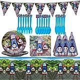 MFHX Accesorios de Fiesta Juego de 9 Piezas Set Vajilla, Vajilla de Cumpleaños Incluyendo Platos, Cubiertos, Servilletas, Banderín y Mantel (6 Personas)