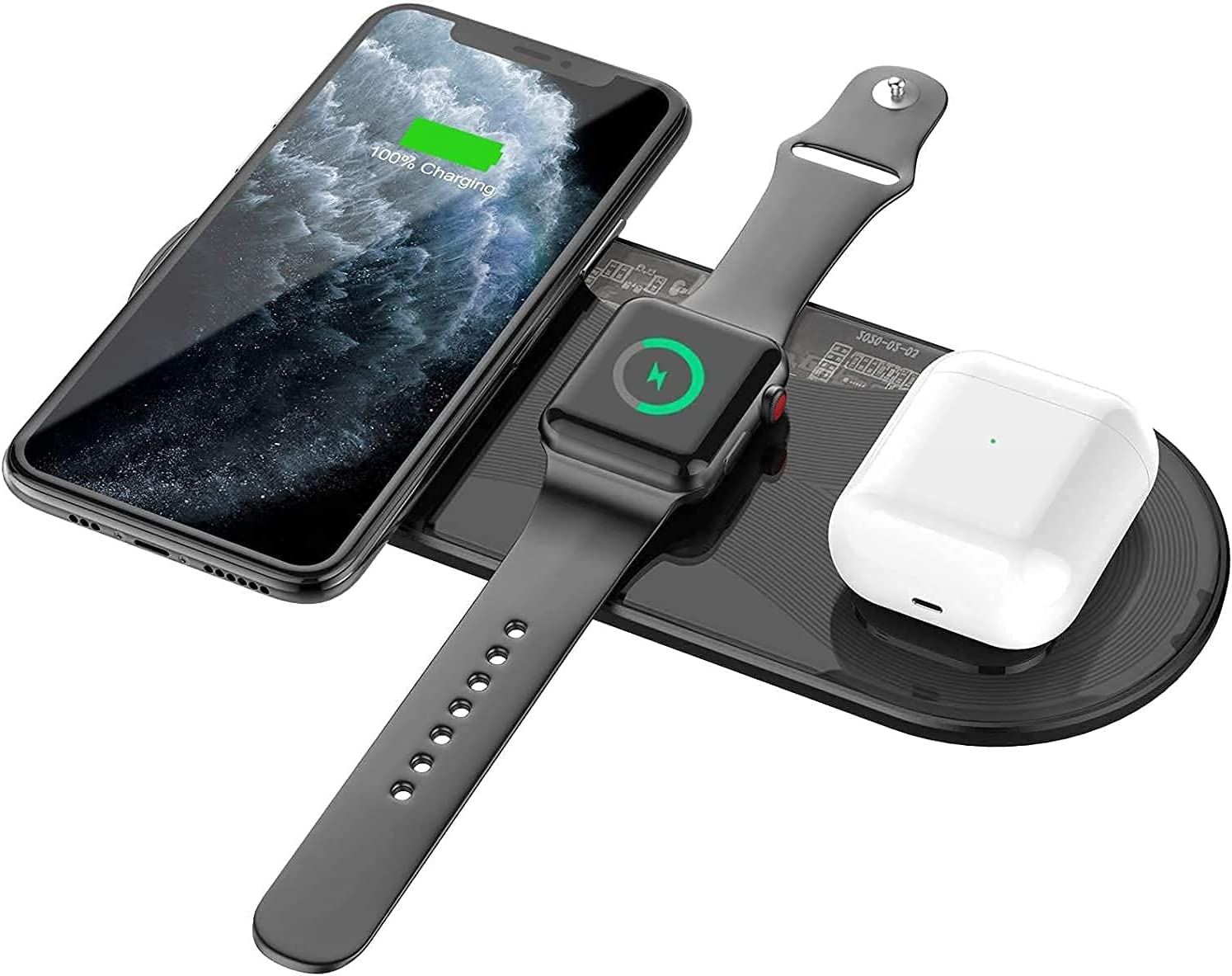 Wireless Charger, Blulory3 in 1 Wireless Charging Board, Qi Certified 15W Fast Charger,Compatible with iPhone 12 Mini/12/12 Pro/12 Pro Max/11/11pro/Se/X/XS/XR/Xs Max/8/8 and Apple Watch AirPods 2/Pro