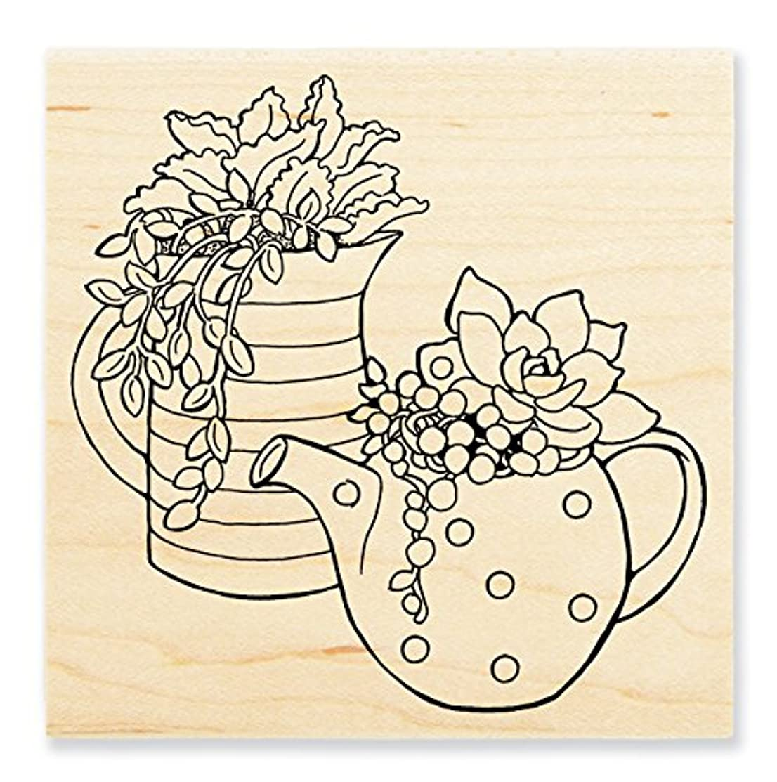 STAMPENDOUS Wood Stamp, Potted Succulents