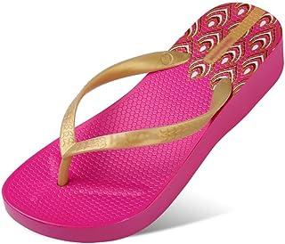 Printed Flip Flop Women's Toe Summer Sandals Lightweight Wedge Slippers Beach Shoes Havaiana (Black) 35-40