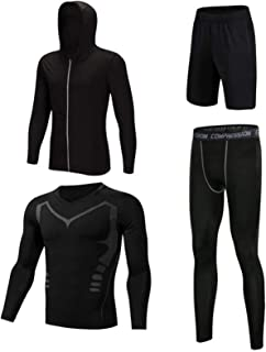 Men's Activewear Full Fitness Tracksuit ,Tight Long Top and Bottom Set,Long Sleeves Quick Dry Lightweight, Comfortable