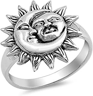 Sun Moon Universe Faces Ring New .925 Sterling Silver Band Sizes 5-10