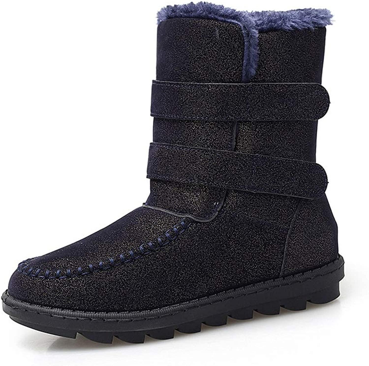 Ladies Snow Boots, Winter Warmth Plus Velvet High Boots Thick-Soled Cotton shoes Non-Slip shoes (color   B, Size   36)