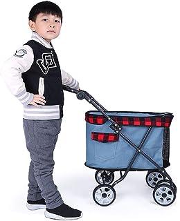 DJLOOKK Husdjursvagn, styre med justerbara vinklar, hopfällbar hundbugg/barnvagn med 4 hjul, lämplig för resor, ljusblå