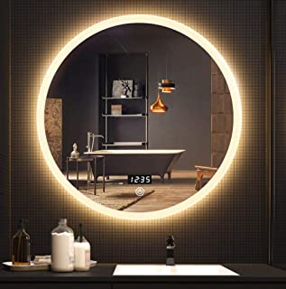 Bathroom mirror European Style Large Round Led Wall Mirror Gentle Eye Protection Illuminated Mirror Frosted Border Touch Sensor + Anti-Fog + Time Temperature Decoration (Warm Light)