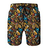 jiilwkie Mens Printing Beach Shorts Swim Trunk Quick Dry African Craft Voodoo Tribal Mask L