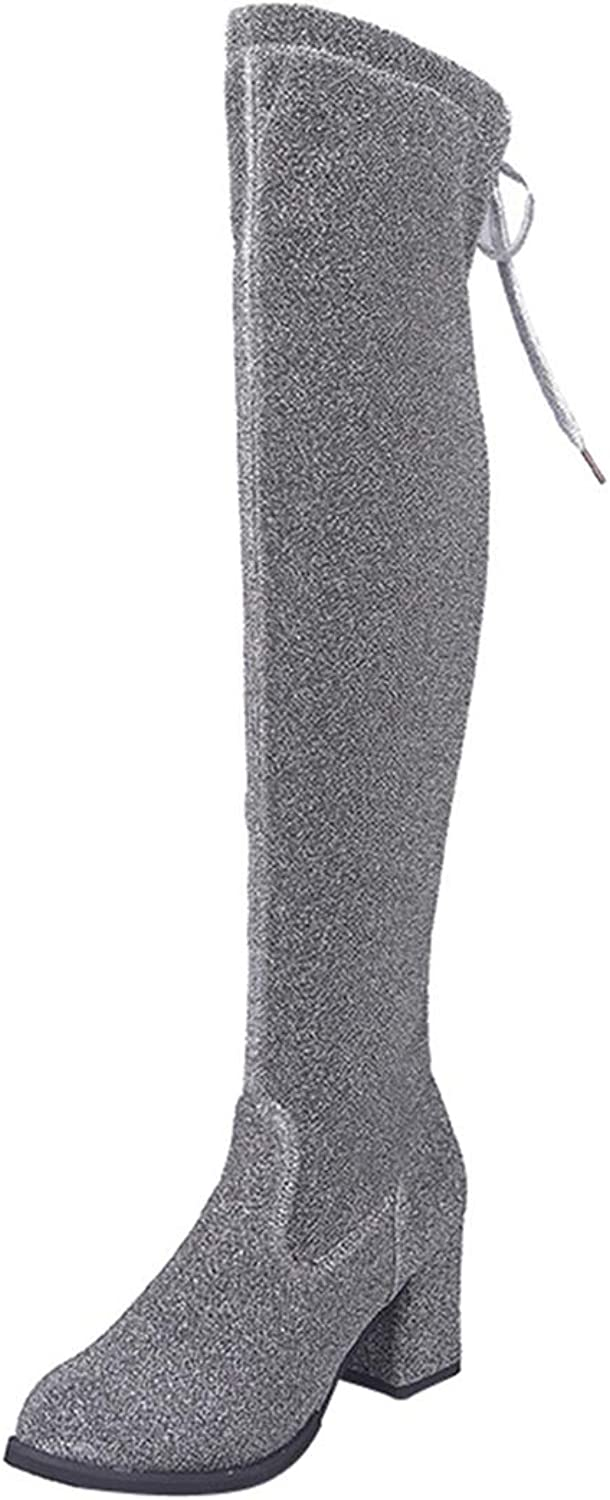 GEORPE Women Stretch Lace-Up Sequined Cloth High Heels Boots Over The Knee Boots High Heels shoes