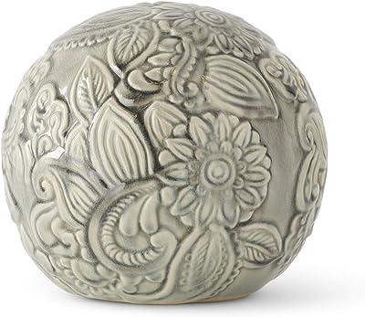 K&K Interiors 15447A-3 7 Inch Gray Ceramic Art Deco Style Tabletop Sphere