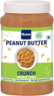HAIM All Natural Peanut Butter Crunchy (Unsweetened) (Vegan, Gluten Free, Non-GMO ) (Crunchy, 1 Kg)