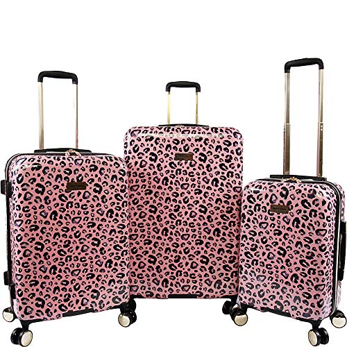Juicy Couture Women's Jane 3-Piece Hardside Spinner Luggage Set, Pink Leopard, One Size