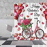 Negeek 183 x 183 cm Langlebiger wasserdichter Stoff Waschbar mit 12 Haken Valentinstag Duschvorhang-Sets Rot Herzförmiger Ballon Rose Fahrrad Duschvorhang für Badezimmer Dekoration