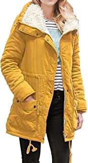 Doric Womens Hooded Long Jacket Duffle Coat Parka Coat Winter Fur Warm Outwear