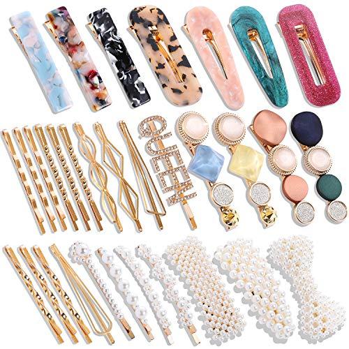 32 Pcs Pearl Acrylic Large Medium Mini Hair Clips Pins Barrette Hair Clips for Women Girls Fashion Hair Accessories