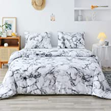 Smoofy 3pcs Soft Brushed Microfiber Comforter Set, Modern Pattern Printed Inner Fill Bedding with 2 Pillow Shams Queen QLUS-Marble-Queen