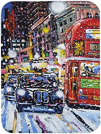 "Caroline's Treasures ARA0133LCB""London Snow by Roy Avis"" Glass Cutting Board, Large, Multicolor"