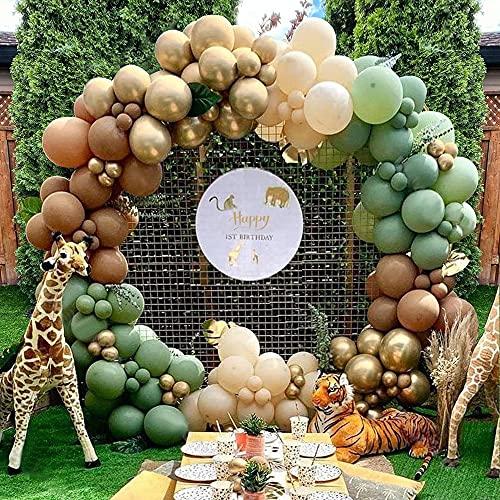 Kit Ghirlanda Palloncini, Jungle Arco Palloncini Kit Ghirlanda Verdi Oro Caffè per Giungla Decorazioni Compleanno, Palloncini Battesimo Bimbo Matrimonio Baby Shower Addobbi per Feste di Compleanno