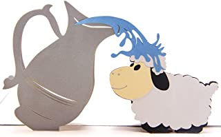 HeartMoon 3D Greeting Cards Cute Sheep and Water Pot Handmade Pop Up Cards Birthday Cards for Kids Greeting Notes with Envelope