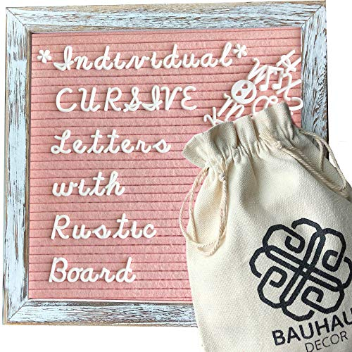 Bauhaus Decor's Felt Letter Board with White Rustic Farmhouse Frame and Stand 10x10 inch, Blush Pink Changeable Letter and Message Board Includes 395 CURSIVE Letters, Numbers, and Symbols, Canvas Bags