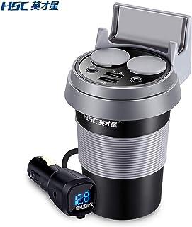Elviray 500D 12-24V Dual USB Cargador de Coche Taza con Soporte para teléfono Interruptor
